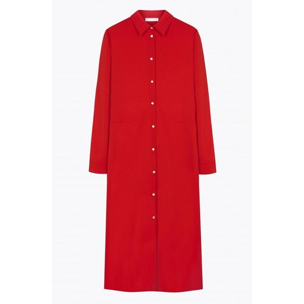 Long Shirt Dress, Stretch Cady, Flame (785 BRL) ❤ liked on Polyvore featuring dresses, button down dress, red dress, red a line dress, button down shirt dress and t-shirt dresses