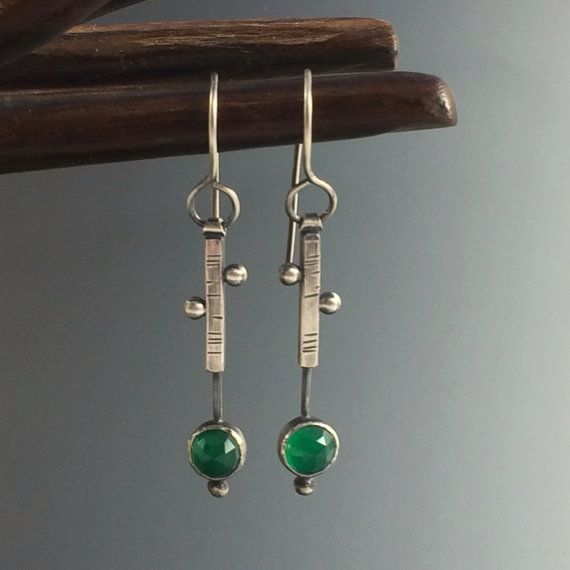 Sterling Silver Green Chalcedony Stick Earrings by AmorphicMetals