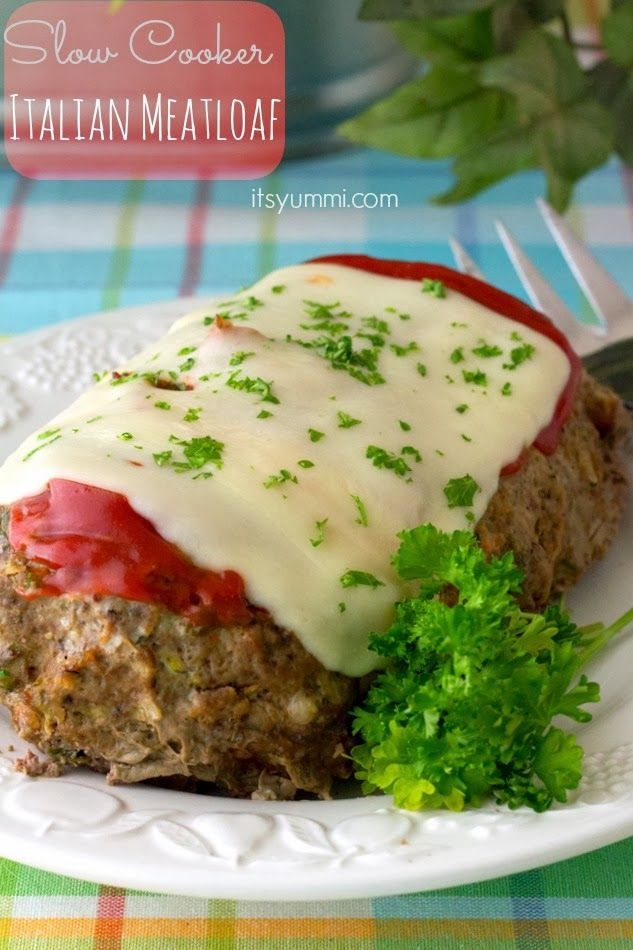 Low Carb Slow Cooker Italian Meatloaf from It's Yummi; this meatloaf has grated zucchini and Parmesan cheese, but no breadcrumbs! [Featured on SlowCookerFromScratch.com] #SlowCooker #LowCarb