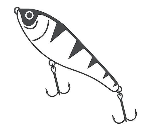 Fishing lure 3 die cut decal car window by for Fishing car stickers