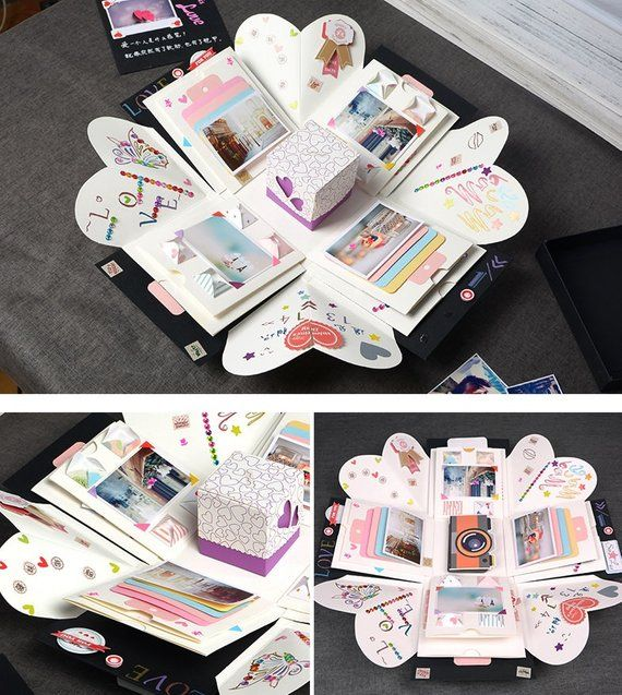 Explosion box, exploding box, photo craftbox, surprise box, gift box anniversary, birthday, Christmas, Valentines day, material pack