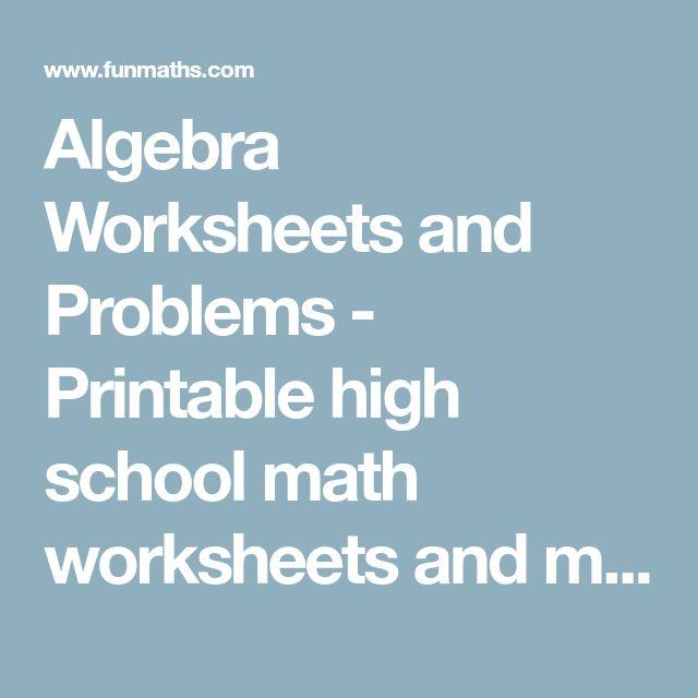 The 10 best Algebra Worksheets images on Pinterest | Algebra ...