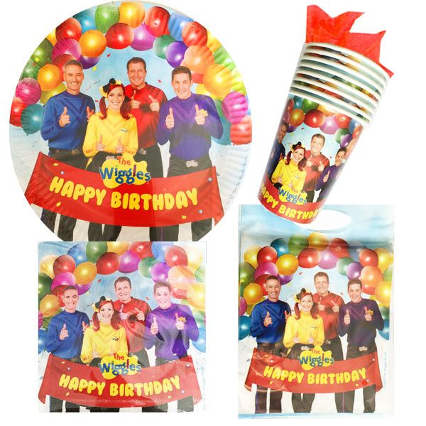 Wiggles birthday party pack 40 piece plates cups napkins loot bags AU$9.95 (temporarily out of stock due mid April)