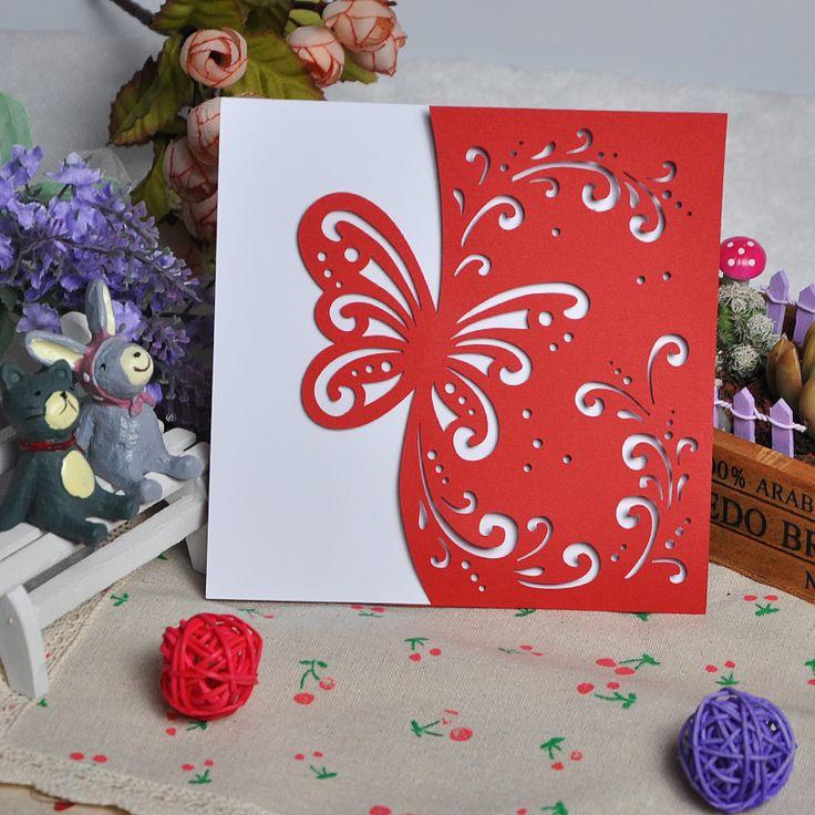 Й Роскошный Лазерная Резка Кружева Белое Золото Красный Розовый Свадебные Приглашения Карты День Рождения Бизнес Партия Бабочка Пригласительных билетов