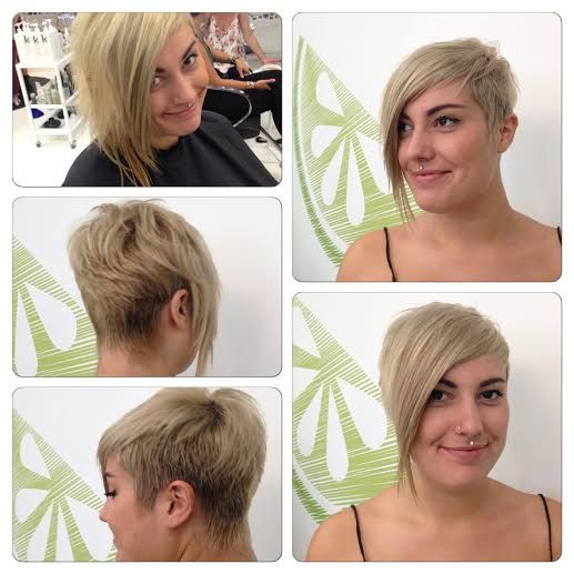 Sassy blonde assymetrical haircut by Nicole Stevens.