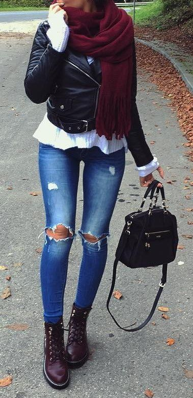 #fall #outfits ·  Leather Jacket // Destroyed Jeans // Leather Bag // Ankle Boots // White Sweater