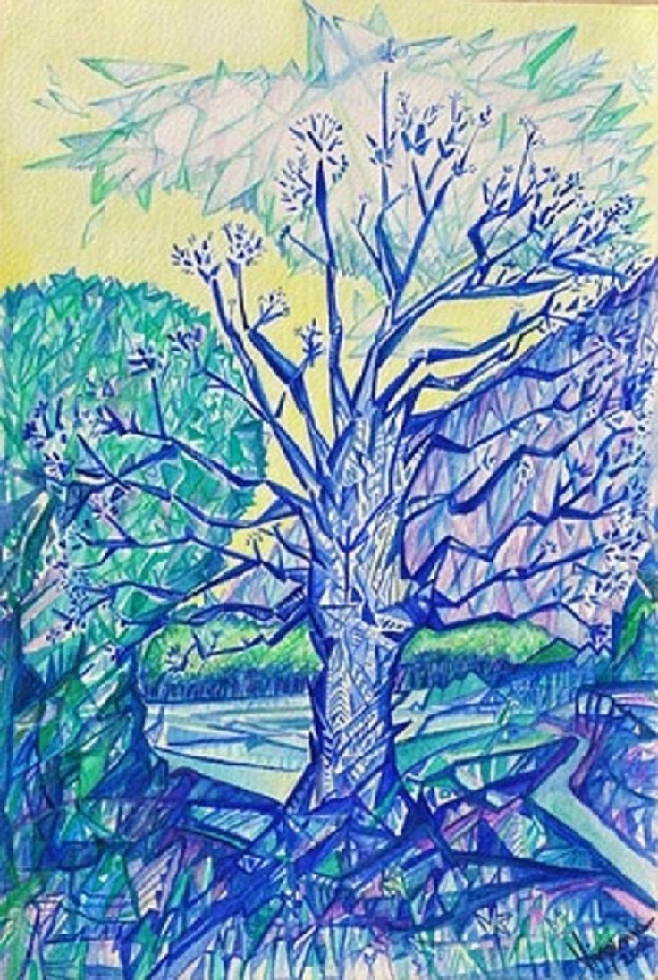 Albero di Manali #watercolor on paper Available #print on canvas BEST #QUALITY #blue #tree