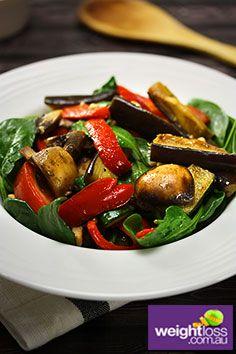 Healthy Salad Recipes: Warm Vegetable Salad. #HealthyRecipes #DietRecipes #WeightLoss #WeightlossRecipes weightloss.com.au