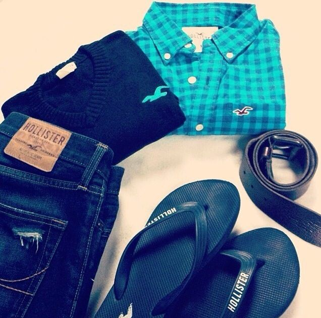 Men/Guy/Teen Fashion/// Hollister. Jeans, Navy T, Turquoise and blue shirt, belt and flip flops. Ready for summer.  Guy Style