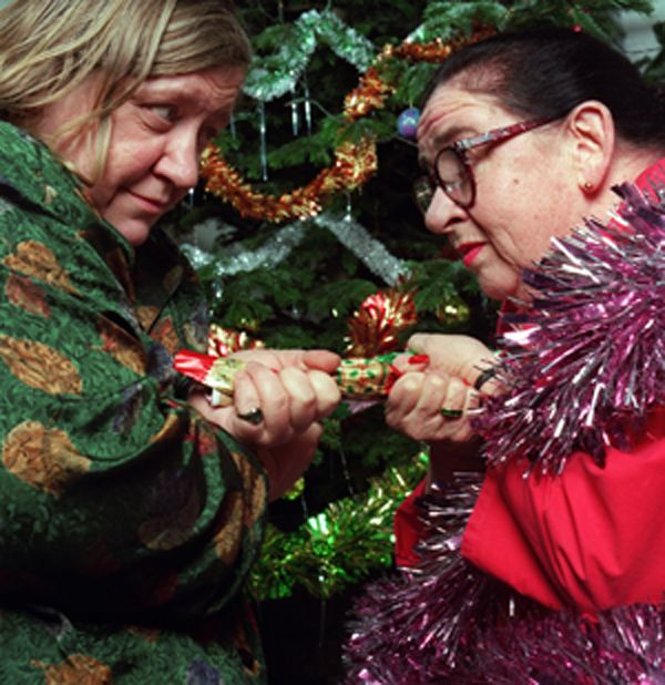 Christmas. Two Fat Ladies: Series Two, Christmas Special. Location: The Pilgrims' School, Winchester, Hampshire. Cooked for the Winchester Cathedral Choir. The recipes were Egg Mousse; Roast Goose and Stuffing; Swedish Red Cabbage; and Christmas Pudding Ice Cream Bombe.