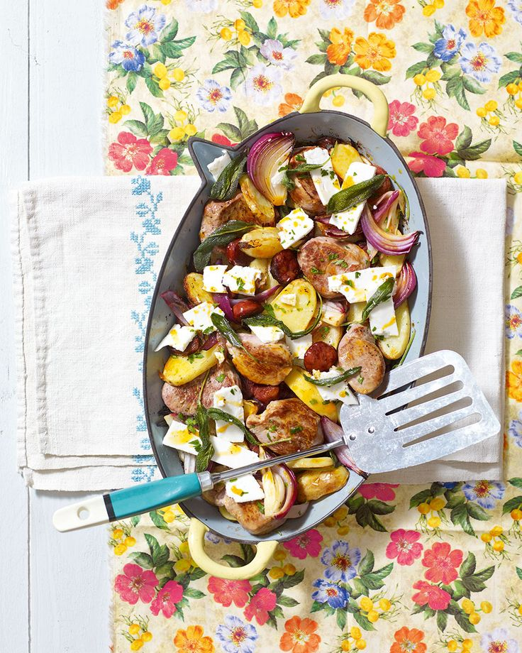A hearty pork, sage and feta recipe that works well as a simple family meal.