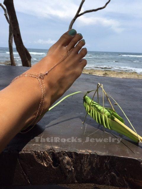 Angel Anklet Cubic Zirconia Anklet Rose Gold Anklet by TatiRocks  #anklet #vacation