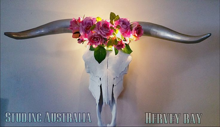 Mexican inspired bull skull silver horns and light up flower Crown ready for Christmas available now