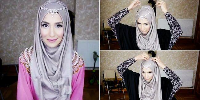 Tidak perlu memakai hijab yang heboh saat datang ke pesta. Tirulah gaya cantik ini.