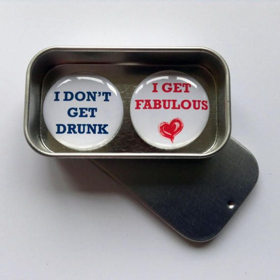 Fun Magnet Gift Set with Gift Tin I Don't Get Drunk I