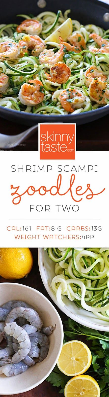 Shrimp Scampi Zoodles for Two – a quick and easy spiralized meal!