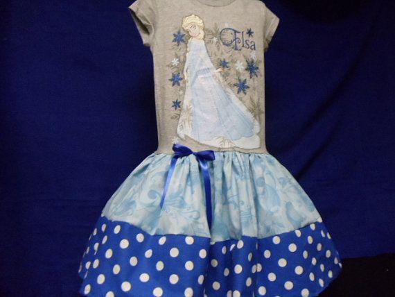 Custom boutique Disney Tshirt dress, featuring Elsa. lots of sparkle, sizes 4 ready for immediate shipment