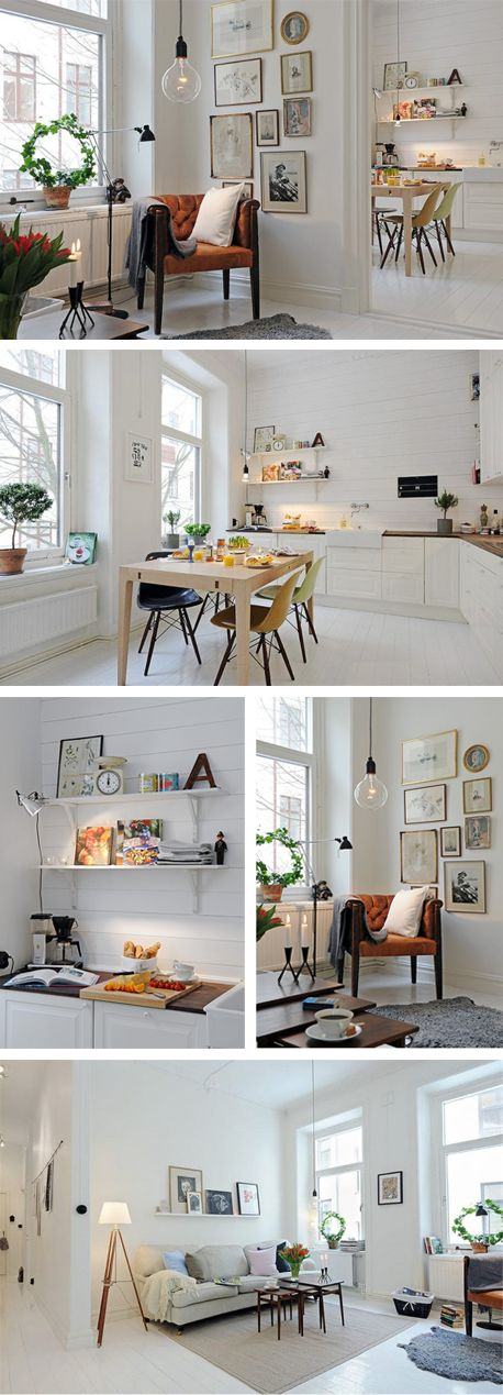Scandinavian style. White. Kitchen. Living room. Dining room. Mid century inspiration