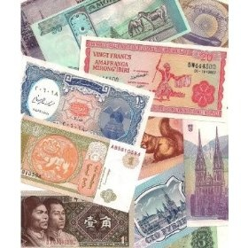 25 Different World Foreign Currency Notes for Continent Boxes
