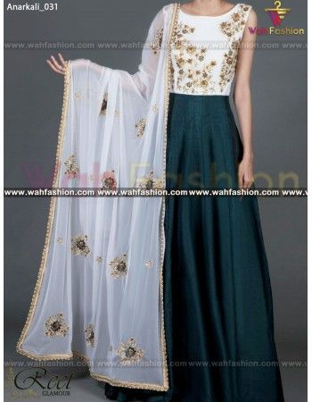 Give yourself a stylish & designer look with this Fantastic Midnight Green Embroidered Anarkali Dress From Reet Glamour. Embellished with Embroidery work and lace work. Available with matching bottom. It will make you noticable in special gathering. You can design this suit in any color combination or in any fabric. Just whatsapp us for more details.  For more details whatsapp us: +919915178418