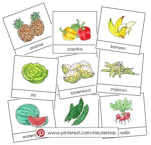 Activiteiten met woordkaarten bij het thema 'groente en fruit' (tekeningen van Dagmar Stam)