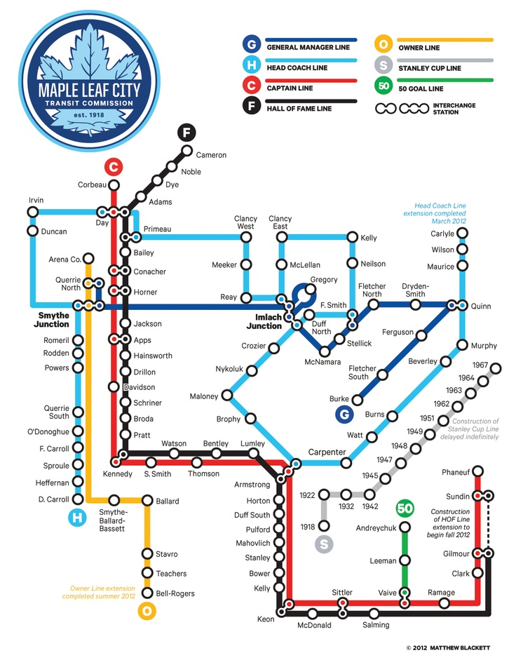 The history of the Leafs, represented as subway lines.. Cool.  Grabbed off twitter from someone