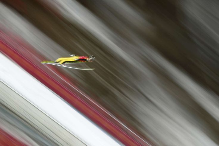 2018 Winter Olympics - Stefan Kraft of Austria during the Ski Jumping - Men's Team Large Hill on Feb. 19