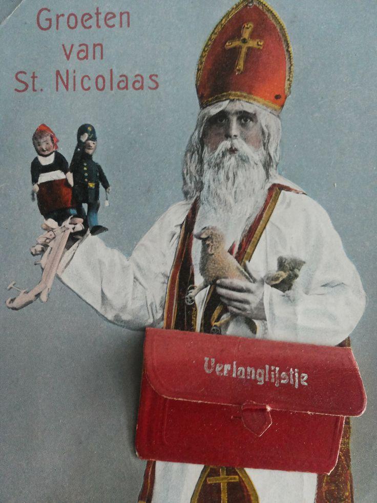 Ansichtkaart uit ca. 1910. In de posttas kon je een verlanglijstje mee versturen voor de afzender St. Nicolaas.