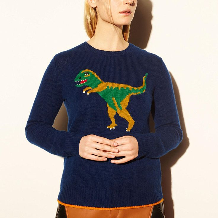 A Stuart Vevers favorite from the spring collection, this playful design is crafted in irresistibly soft cashmere. Intarsia-knit to allow for clear, inlaid fields of vibrant color, the design is cut with a relaxed boyfriend shape for a laidback, modern look.