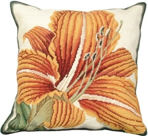 Needlepoint Day Lily Pillow