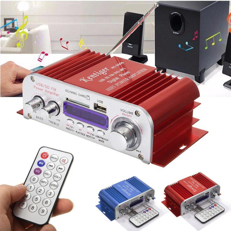 Kentiger HY3006 2 Channel Hi-Fi Audio Stereo Mini Amplifier Car Home MP3 USB FM SD w/ Remote 12V