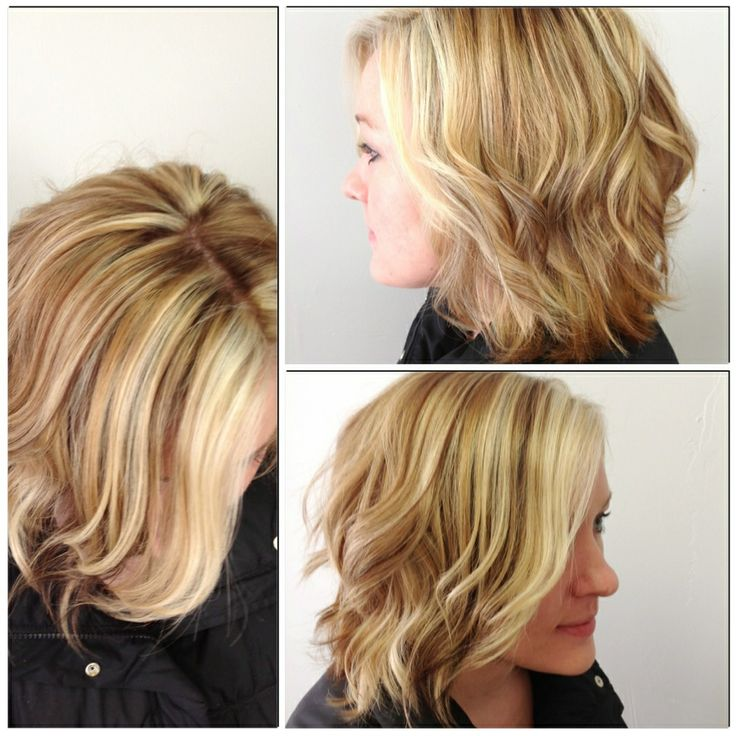 ... blonde highlights layered inverted bob style caramel short wavy blonde