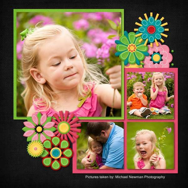 layout, one big 3 small squares.: Black Backgrounds, Scrapbook Ideas, Scrapbook Layout, Photos Layout, Scrapbook Pages, Scrapbook Girls, Bold Colors, Flower, Bright Colors