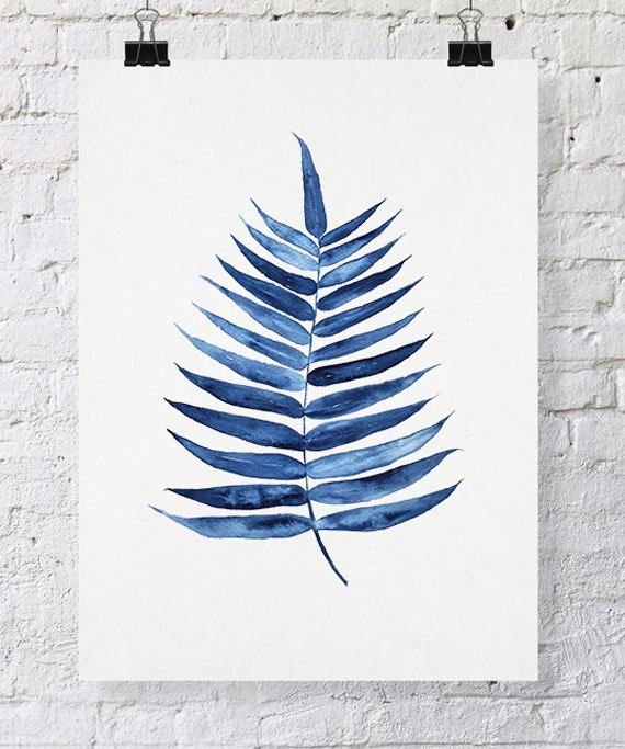 Palm Leaf Tropical Wall Art Watercolor Print 11x14 - Blue Palm Wall Art…