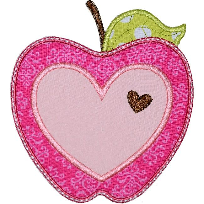 All Appliques - Valentine Apple Applique machine embroidery design. With small and large heart. Cute idea for Valentine's Day holiday or any time of the year. For kids or grown-ups!