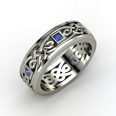 Men's Sterling Silver Ring with Sapphire | Alhambra Knot Band | Gemvara