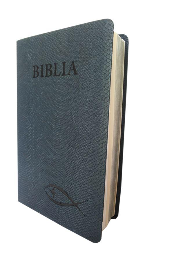 Biblia NTR (Biblia Noua Traducere), coperta imitatie piele, bleumarin, argintie pe margini