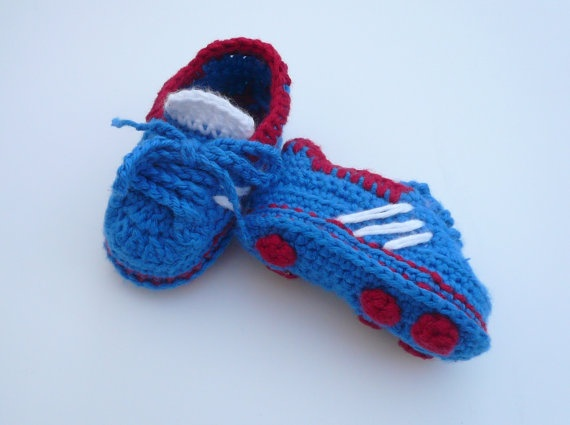 Crocheted Baby Soccer Trainer Boots by MyGrannyTaughtMe on Etsy, $26.00