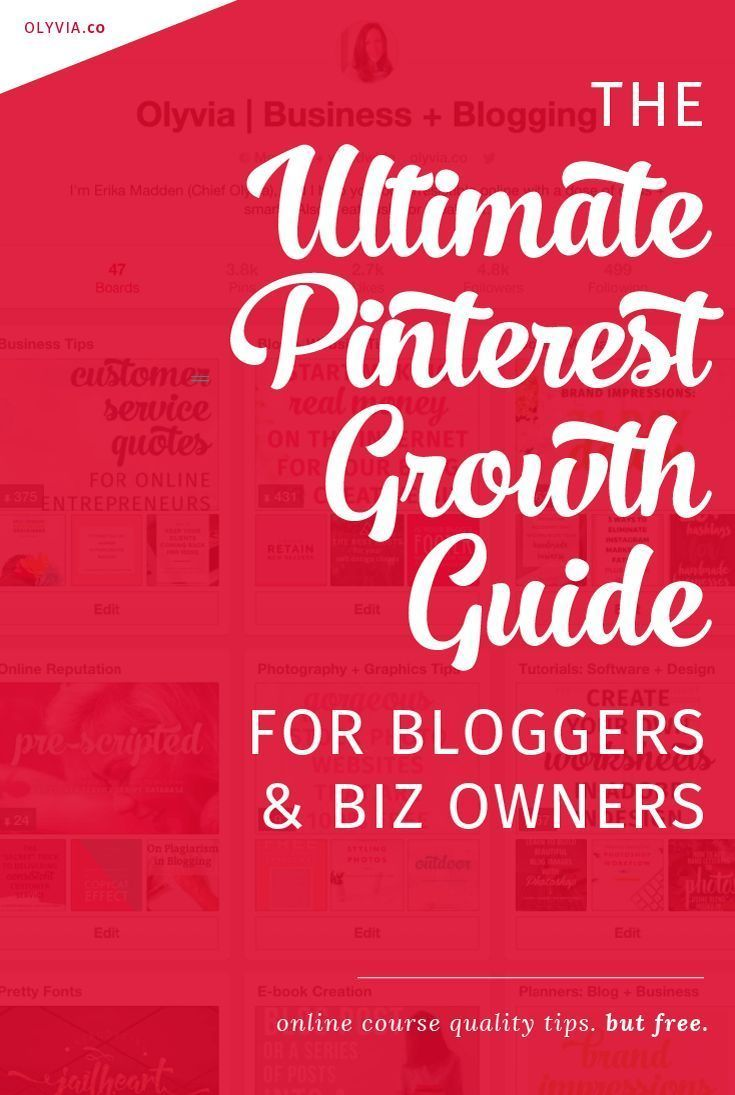 The ultimate in Pinterest tips! How to get followers on Pinterest (and drive traffic back to your website) if you are a blogger, business owner, or entrepreneur. Learn how to get more re-pins, what makes people follow you, and get 15+ real-life examples. Read + bookmark it at http://olyvia.co/how-to-get-pinterest-followers-and-repins/. This is like an e-course on growing your Pinterest account, but totally free!