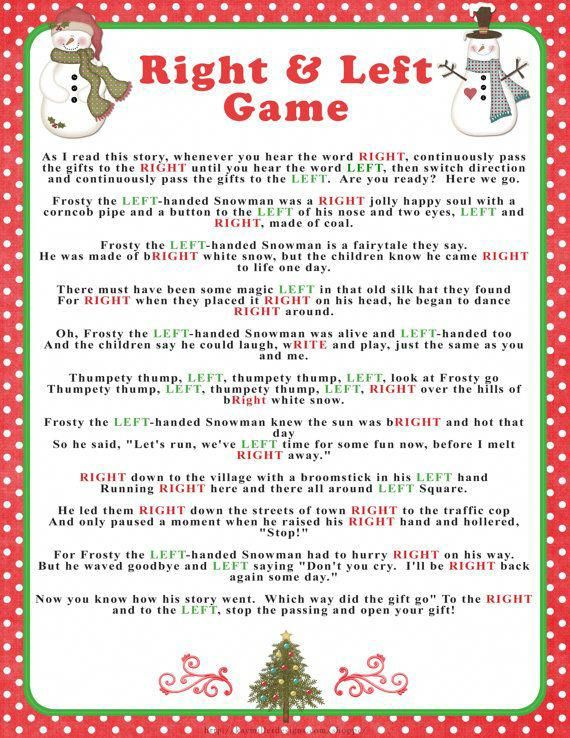 """Winter """"Right & Left"""" story/game in reds and greens, Instant Download Baby or Bridal shower game, hilarious party/family game, Christmas – ccs"""