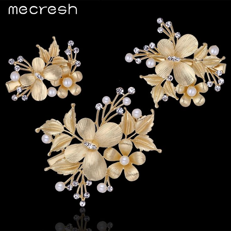 Mecresh 3pcs/set Gold Plating Top Crystal Flower With Butterfly Hairpins Wedding Hair Accessories Combs Barrettes TS027