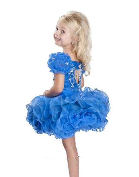 2013 Hot Selling Cupcakes Cap Sleeves Blue Kid Party Dresses Ruffles Organza Little Girl Pageant Dresses For Sale US $79.89