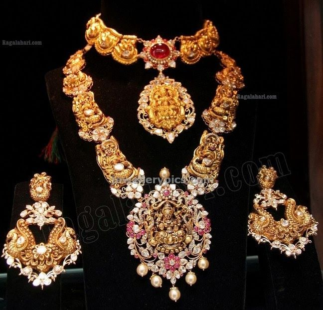 tibarumal jewels temple collection long chian and earrings with nakshi design