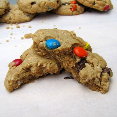 Rumbly In My Tumbly: Soft Monster Cookies. Peanut butter cookies packed with oats, m, chocolate chips, and peanut butter chips.