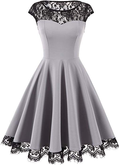 Homrain Damen 1950er Elegant Spitzenkleid Rundhals Knielang festlich  Cocktail Abendkleid Grey L  Amazon.de 848aa840ca