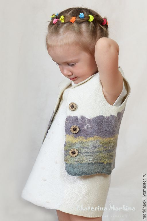 Felted vest / Купить Жилет детский - разноцветный, рисунок, ручная работа, шерстяная одежда, шелковые волокна