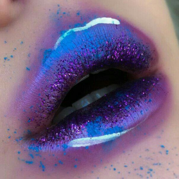 Blue Purple Neon Highlight Lips Lip Gloss Lipstick Matte Halloween