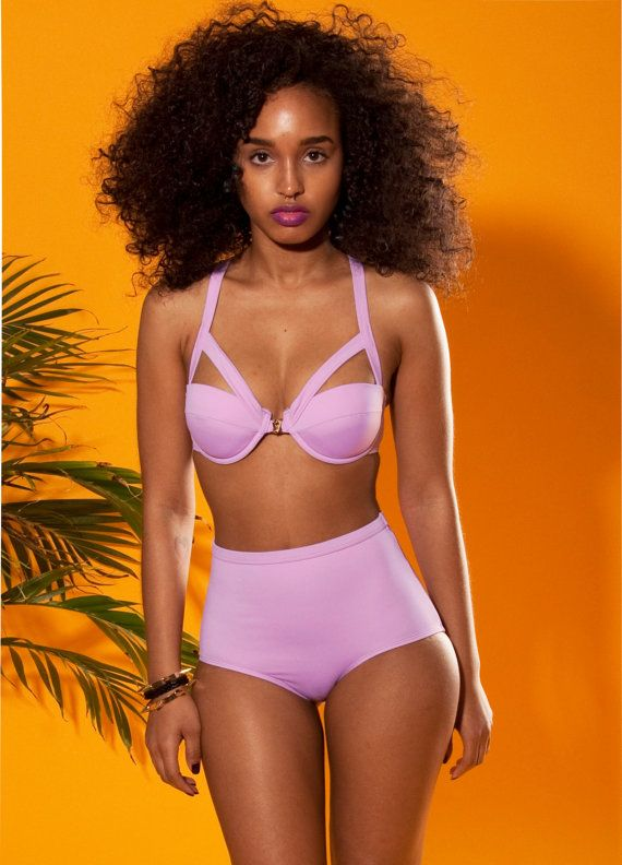 Pastel Purple Highwaist swimwear by AndreaVintageStore on Etsy, $65.99