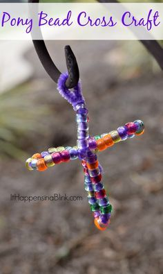 Pony Bead Cross Craft . Easy craft for kids and to use in Sunday School or for a great homeschool lesson!