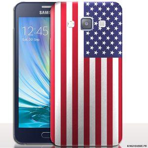 Coque pour A3 - Samsung Galaxy - Drapeau USA / Etui rigide a clipper. #Coque #Case #Samsung #A3 #Galaxy #USA #drapeau #flag #etats #unis